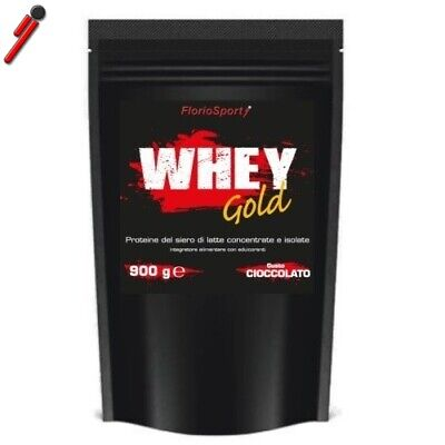 FlorioSport, Whey Gold, 900 g. 100% Proteine Siero Latte Concentrate ed Isolate