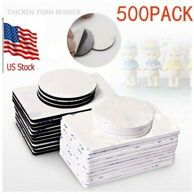 500X Sticky Double Sided Foam Pad Tape Mount Round Square Strong Adhesive Pads