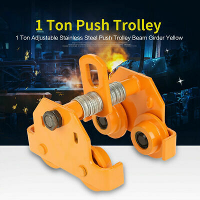 1 TON STEEL I-Beam Push Beam Track Roller Trolley For