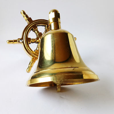 ANTIQUE London Hanging Nautical Brass SHIP Maritime Ship Bell WHEEL Wall Decor