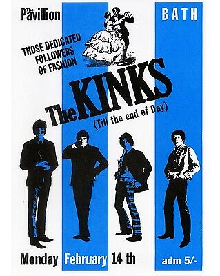 """The Kinks Bath 16"""" x 12"""" Photo Repro Concert Poster"""