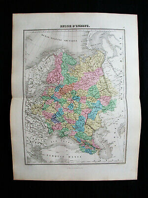1878 MIGEON - rare map: RUSSIA in EUROPE, MOSCOW, St, PETERSBURG, UKRAINE CRIMEA