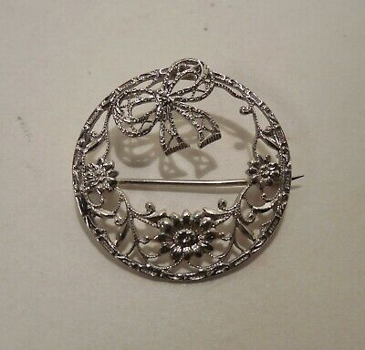 Antique French Art Nouveau Deco 1930 Silver Marcasite Pearl Brooch Pin Ravishing Art Nouveau