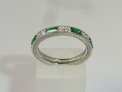 Ladies Art Deco Style 925 Sterling Silver Sapphire & Emerald Full Eternity Ring