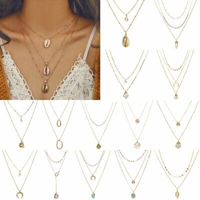 Boho Women Multi-layer Long Chain Pendant Crystal Choker Necklace Jewelry New