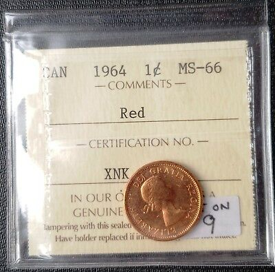 1964 Canada Small Cent Penny **ICCS Graded MS-66, Dot Variety** Book Value $3000