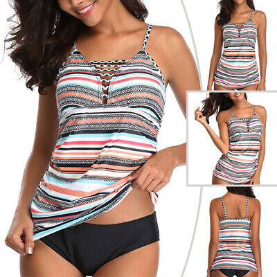 79d7fa43da Women Stripe Swimsuit Swimwear Plus Size Tankini Set Padded Beachwear S-5XL