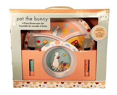 Pat the Bunny 4 Piece Child Melamine Dinnerware Set - Plate, Bowl, Fork & Spoon