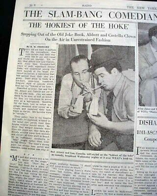 EARLY Lou Bud ABBOTT & COSTELLO Comedy Duo Comedian Actors Photo 1940 Newspaper