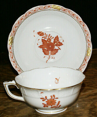 Herend Fine China Chinese Bouquet Rust Footed Cup and Saucer * Style #734