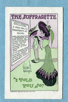 "J8577 Postcard Suffrage ""The Suffragette I Told You So"" Woman With New Era List"
