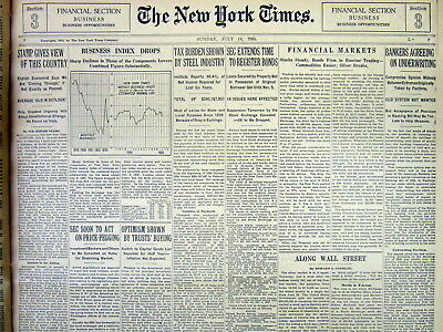 1935 NY Times newspaper w Graph of the STOCK MARKET CRASH & the GREAT DEPRESSION