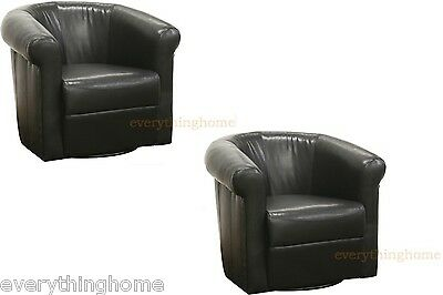 2 Accent Club Chairs Black Brown 360 Degree Swivel Faux Leather Modern Designer