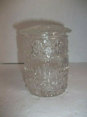 "Antique Vintage Cut Crystal Glass Candy Dish Jar & Cover Star 4.5"" Shabby Chic"