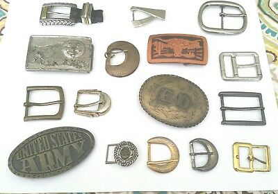Vintage Lot of 16 Mixed Belt Buckles Brass Army Leather WesternCowboy Hippie etc