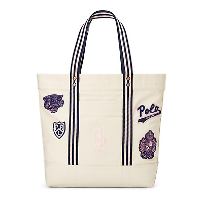 859cb959e9d Polo Ralph Lauren Pink Pony Embroidered Canvas Patchwork Crest Logo Tote  Bag NWT