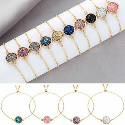 Fashion Gold Plated Bracelet Women Druzy Natural Geode Stone Bangles Jewelry