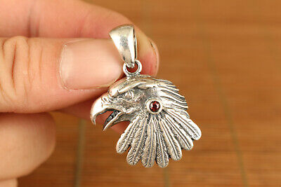 cool fine silver eagle inlay red jewel stone pendant amulet