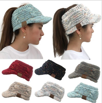 Women Beanie Tail Messy Bun Hat Ponytail Stretchy Knitted Crochet Skull Cap 2019