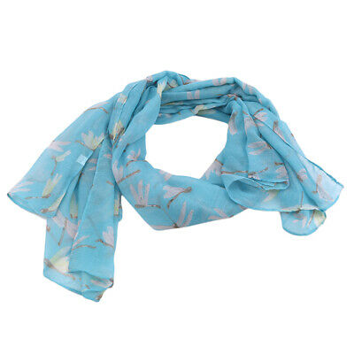 Lady Women Long Soft Voile Dragonfly Print Scarves Vintage Shawl Wrap Stole H