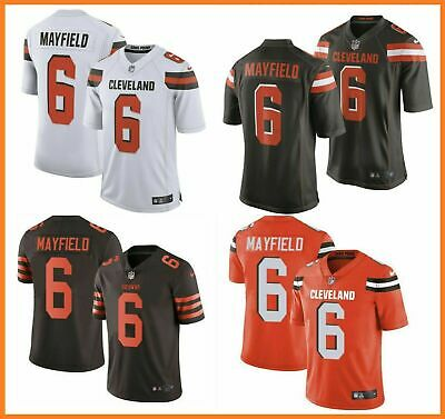 NEW MEN'S CLEVELAND Browns 6# Baker Mayfield Jersey BrownWhite  free shipping