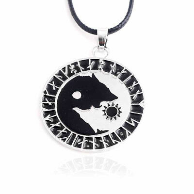 Creative Yin Yang Wolf Eating Sun Shape Norse Vikings Necklace Pendant Gift GG