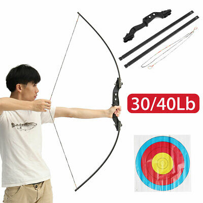 30/40lbs Archery Hunting Recurve long Straight Bow Longbow + Target Paper AU 🔥