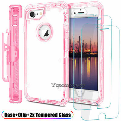 iPhone 6s 7 8 Plus Clear Case Cover Shockproof Hybrid Rugged Rubber + Belt Clip