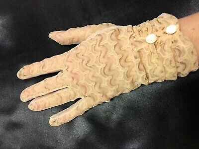 Genuine Vintage 1950's Elegant Fancy Cream Nylon Gloves Size 7