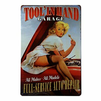 """Tool In Hand Garage Service Station Metal Tin Decorative Sign 8"""" x 12"""""""
