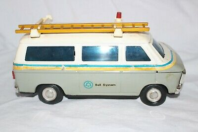 Vintage Western Stamping Corp. Bell System Tin Van Bank w/ Stopper