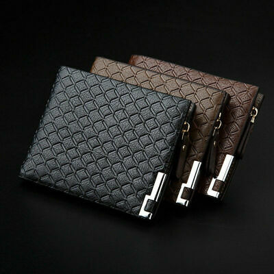 Mens Luxury Leather Soft Wallet Credit Card Holder Purse Black Brown With Zip