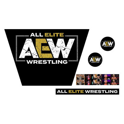 WWF/WWE Mattel Retro All Elite Wrestling AEW Logo Custom Ring Stickers/Decals