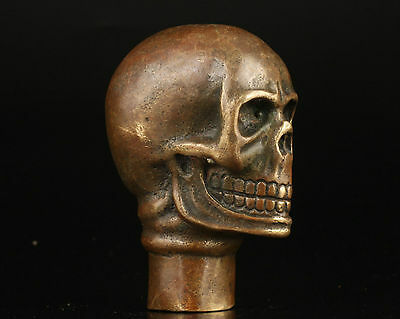 Asian Chinese Old Bronze Handmade Carved Skull Statue Walking Stick Head
