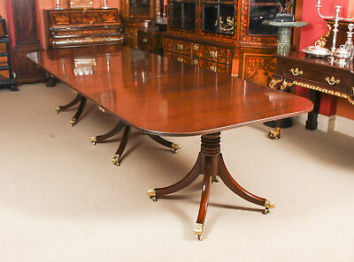 "Antique George III Flame Mahogany 10ft 9"" Triple Pillar Dining Table C1820 19thC"