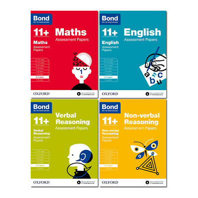 BOND 11+ PLUS Assessment Papers 4 Books English Maths Verbal
