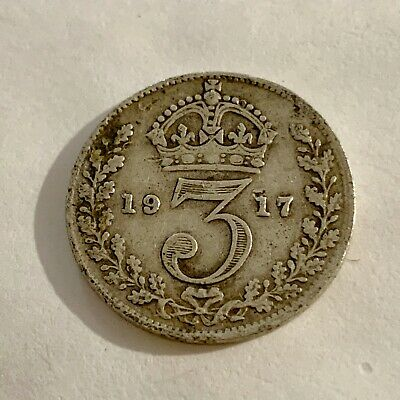 1917 - Silver Coin - Threepence - 3d  - Great Britain - 3p three pence