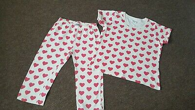 Girls Mini Boden Shortie Pyjamas, Cream with Love Hearts: age 9-10yrs