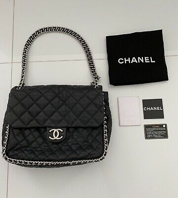 25d803499012c0 CHANEL Maxi Chain Around Black Quilted Calfskin Leather Silver HW Shoulder  Bag