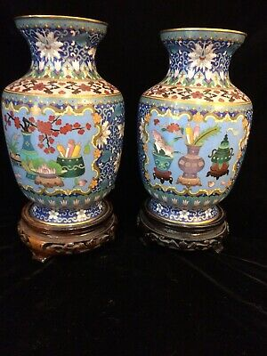 "Pair Of Very Fine Chinese Cloisonne 9"" Vases, Cira 1900. Perfect Condition."