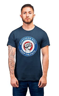 Mens MOD Northern Soul T-Shirt Keep the Faith Classic Music Club Scene Jam Retro