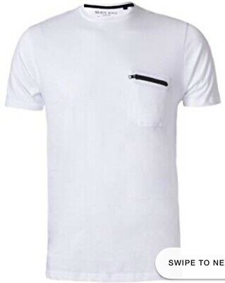 Brave Soul Crew Neck T Shirt With Zip Pocket White Mens Size Small Bnwt