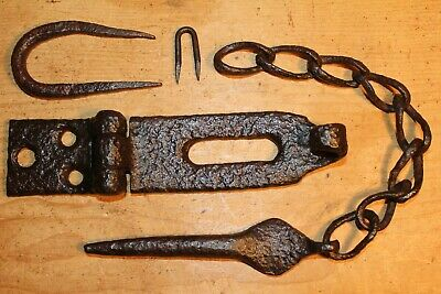 Antique Wrought Iron Hasp & Staple/Lock~Locking Pin~Hand Forged~Plank Door~