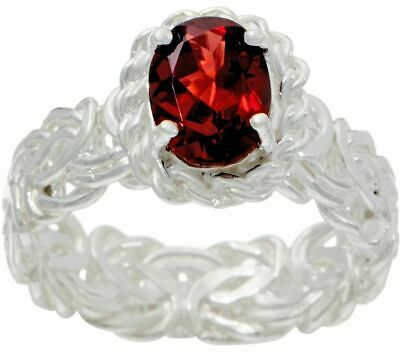 Silver Style Sterling Silver Byzantine 1.00Ct Garnet Polished Ring Size 7 Qvc