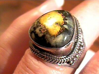 Eclipse Agate Sterling Silver 925 Ring 7.5 Natural Complex Old Bold Elegant