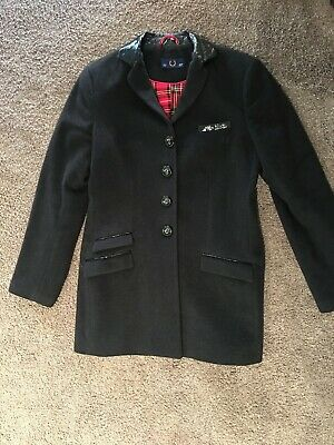 15b08a66c FRED PERRY Black Jacket with Check Lining STUNNING Size Medium UK12 USA 8