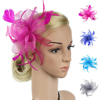 10Colors Women Feather Flower Fascinator Hair Clip Hairpin Wedding Party Flowery