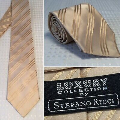 ff1a4f9da960 Luxury Collection STEFANO RICCI Pale Yellow Striped Silk Tie Wide Crystal  #074
