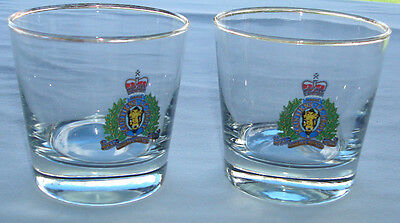 Royal Canadian Mounted Police Coat of Arms 6 Oz Whiskey Rocks Glasses Set of 2