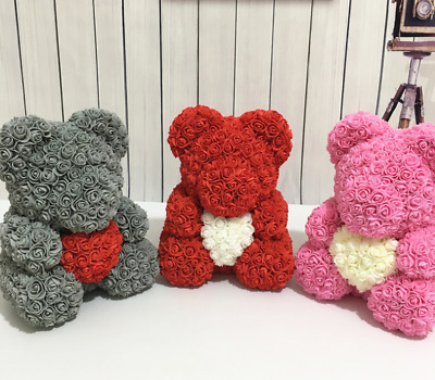 UK Teddy Bear Rose Bear 38CM Romantic Pinkand  Red Valentine's Day Gift with box